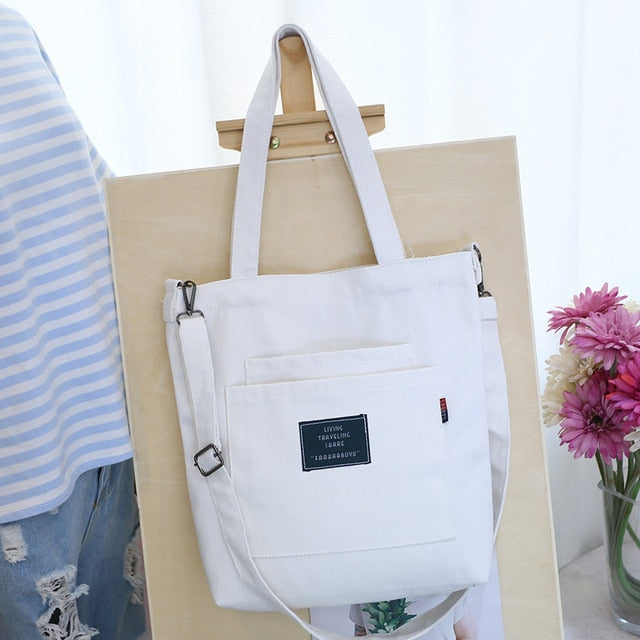 Canvas Vintage Zipper Flap Women Handbags