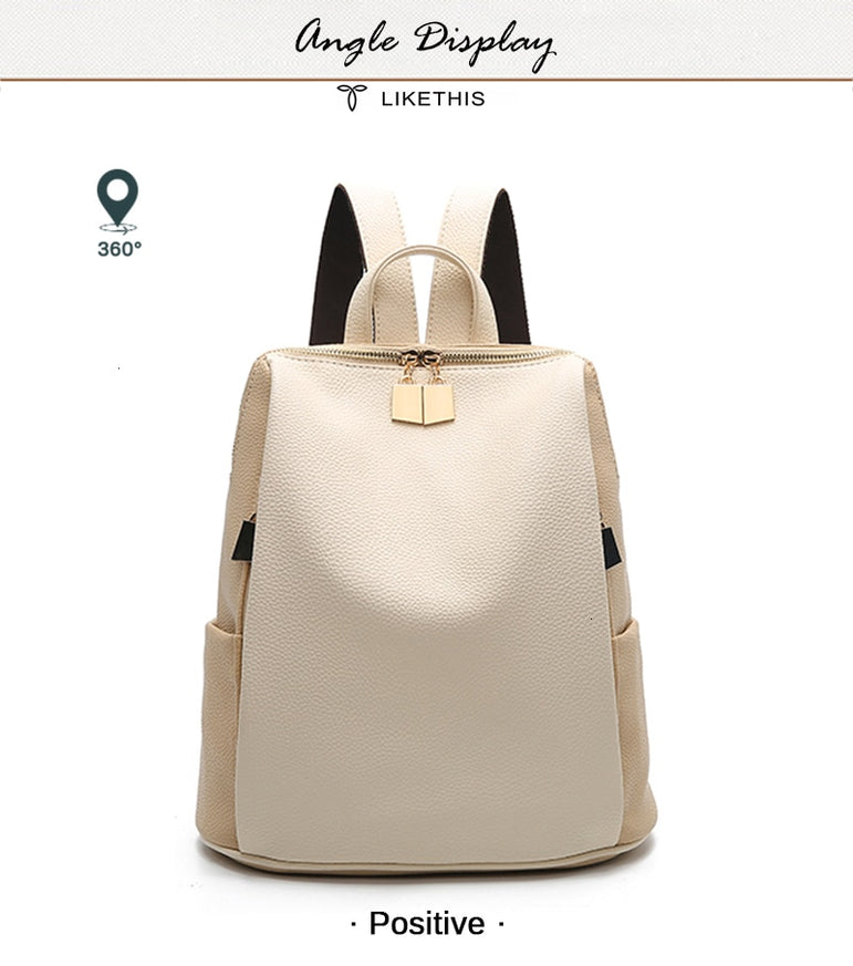 Casual Daypacks mochila Leather Women Backpack
