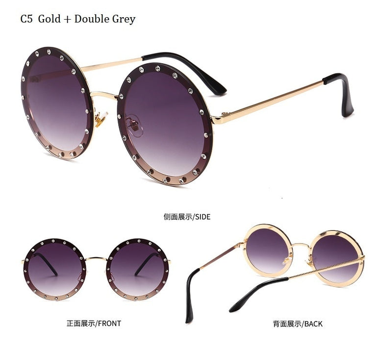 Metal Frame Clear Lens Oversized Round Rivet Sunglasses