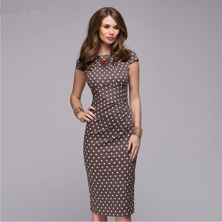 Elegant Office Dot Print Slim Dress