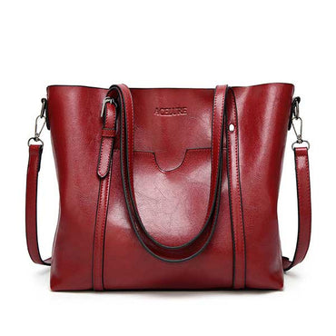 Leather Oil wax Women Tote Handbags