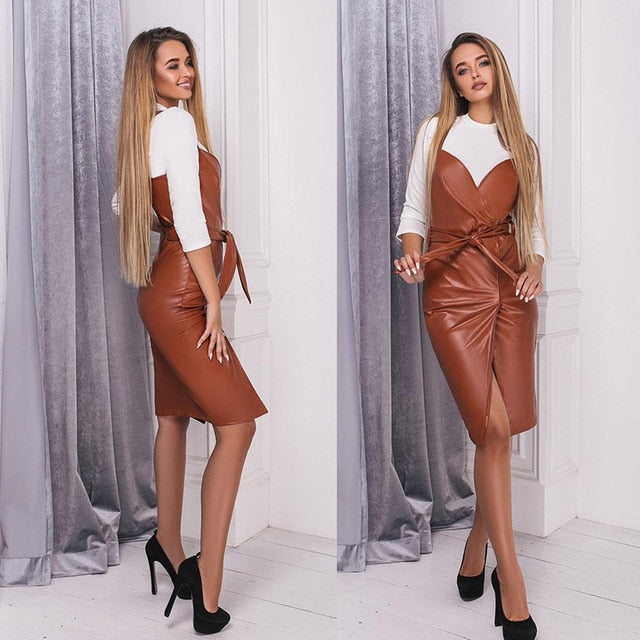 Elegant Leather Club Vintage Knee Length Dress