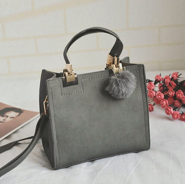 Leather Fair Ball Tassel Messenger Handbag