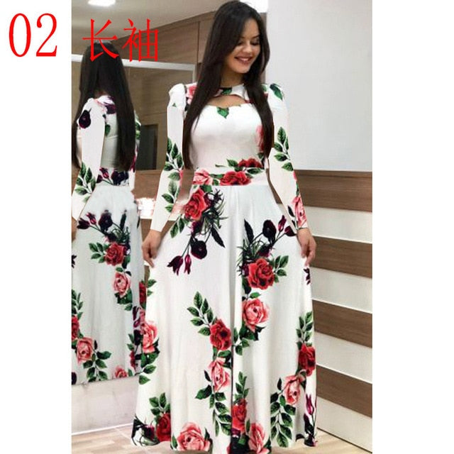 Elegant Casual Bohmia Flower Print Dress