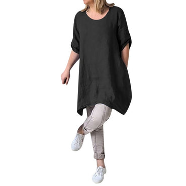 Casual Short Sleeve Linen Cotton Dress