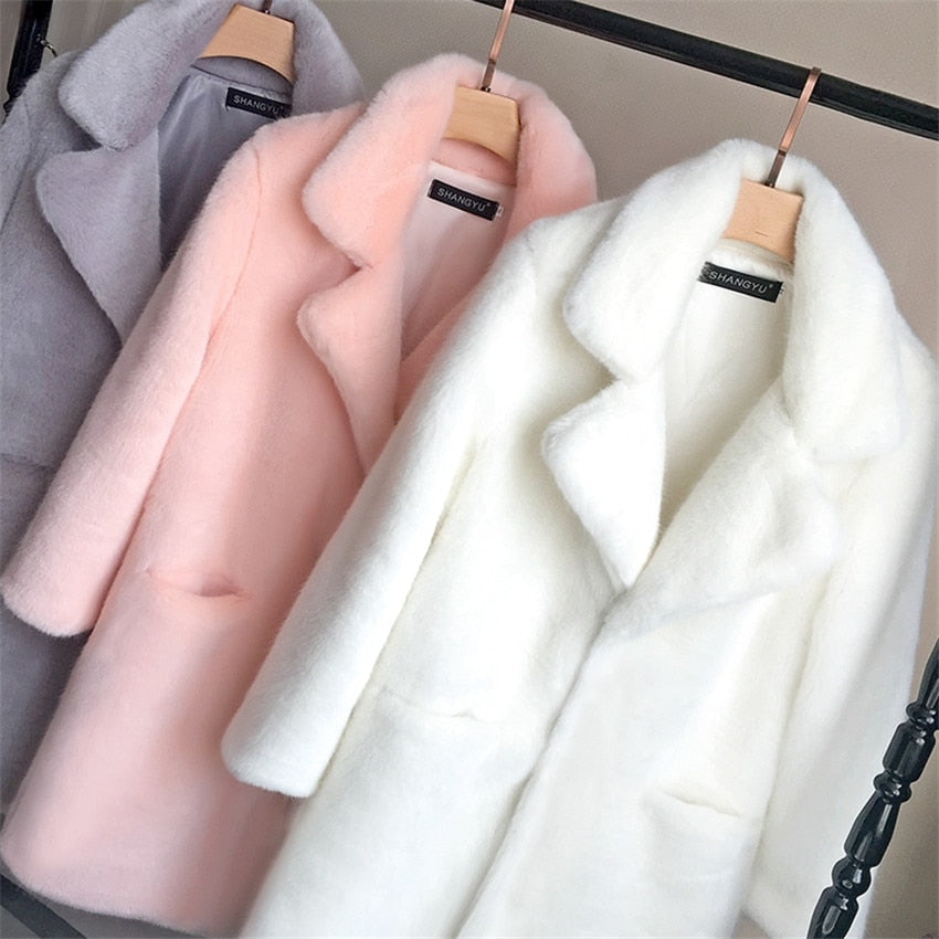 Casual Faux Fur Women Mink Coat Jacket