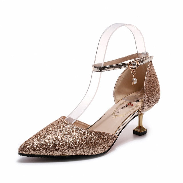 Elegant Glitter Ankle Strap Wedding pointed toe High Heels