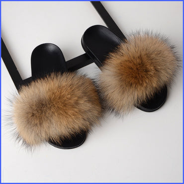 Luxury Real Fox Fur Slides Home Furry Fur Slippers
