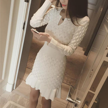 Elegant Long Sleeve Sweater Style Slim Dress