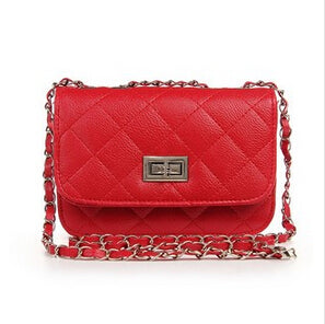Leather Chain Lozenge Shoulder Handbags