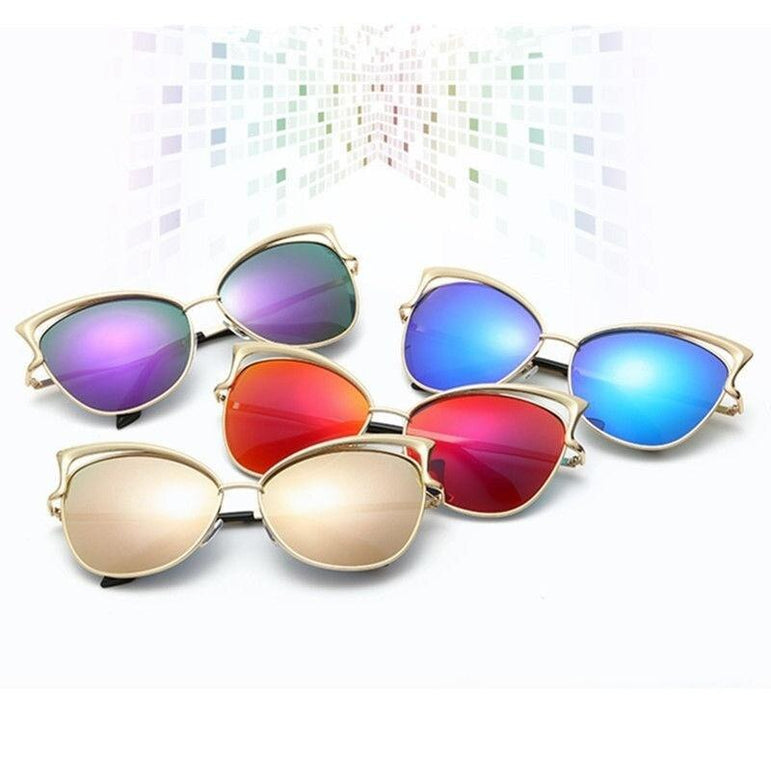Women Retro Cat Eye Alloy Frame Sunglasses