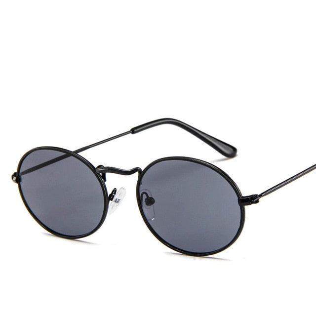 Retro Metal Frame Classic Pink Reflective Oval Sunglasses