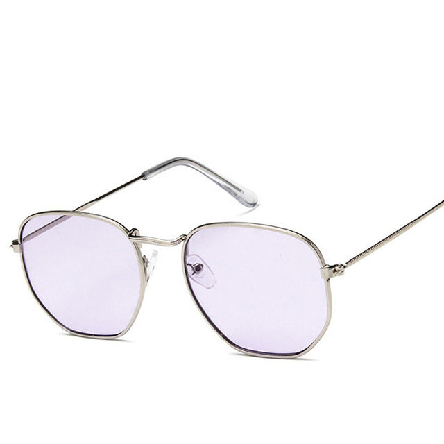 Square Polygon Clear Vintage Metal Sunglasses