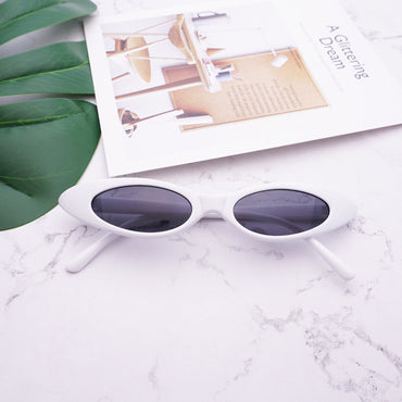 Retro Cat Eye Clear Lens Oval Sunglasses