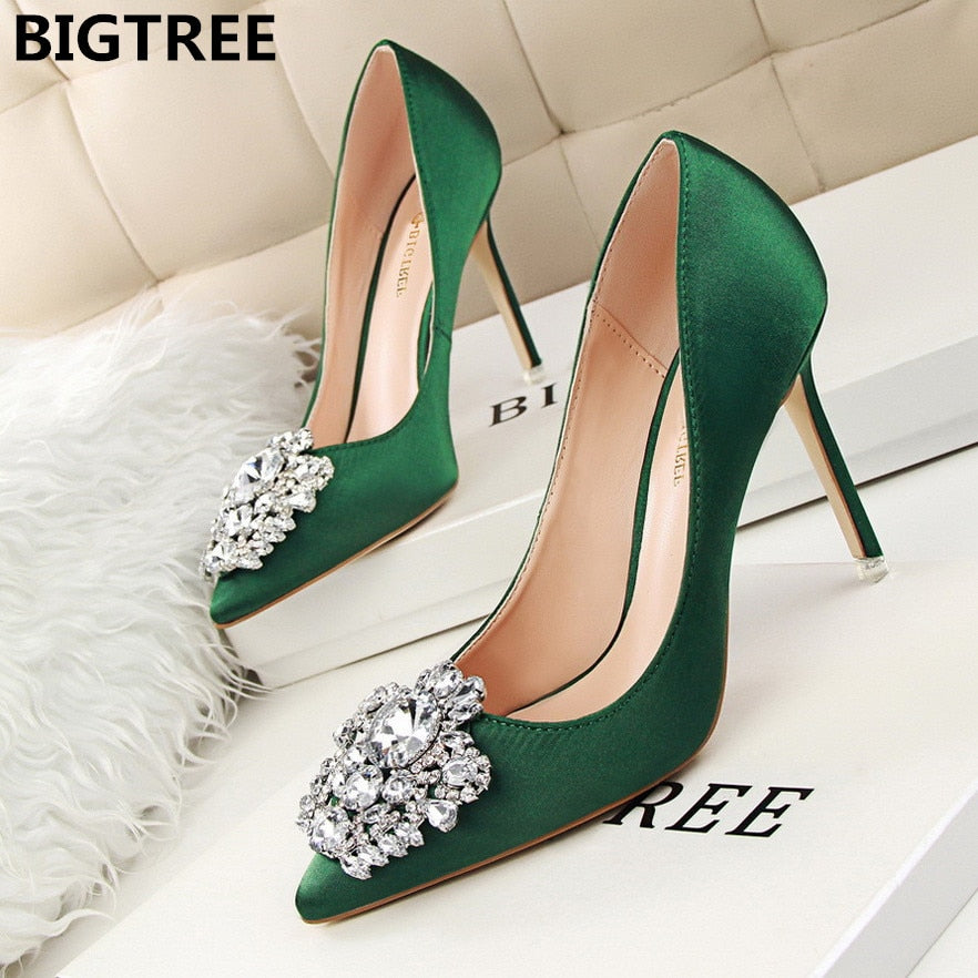 Crystal Shallow Silver Bridal Wedding Stiletto High Heel