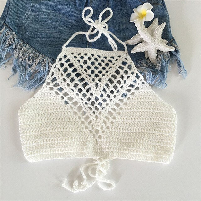 Hollow Out Lace Vintage Crochet Crop Top