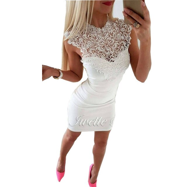 Sleeveless Lace Bandage Bodycon Clubwear Slim Dress