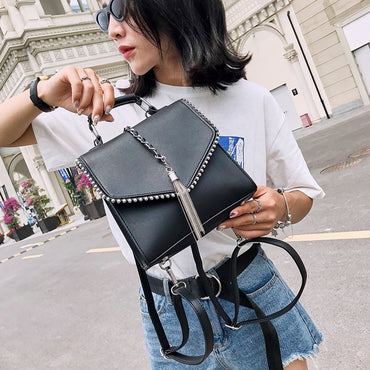 Leather Tassel Shoulder Backpacks
