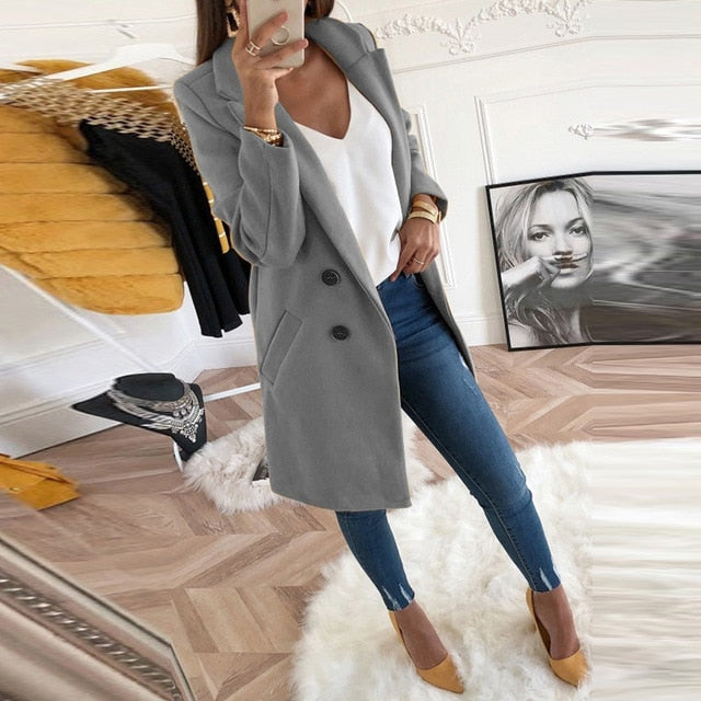 Long Sleeve Women Winter Woollen Coat Blazer