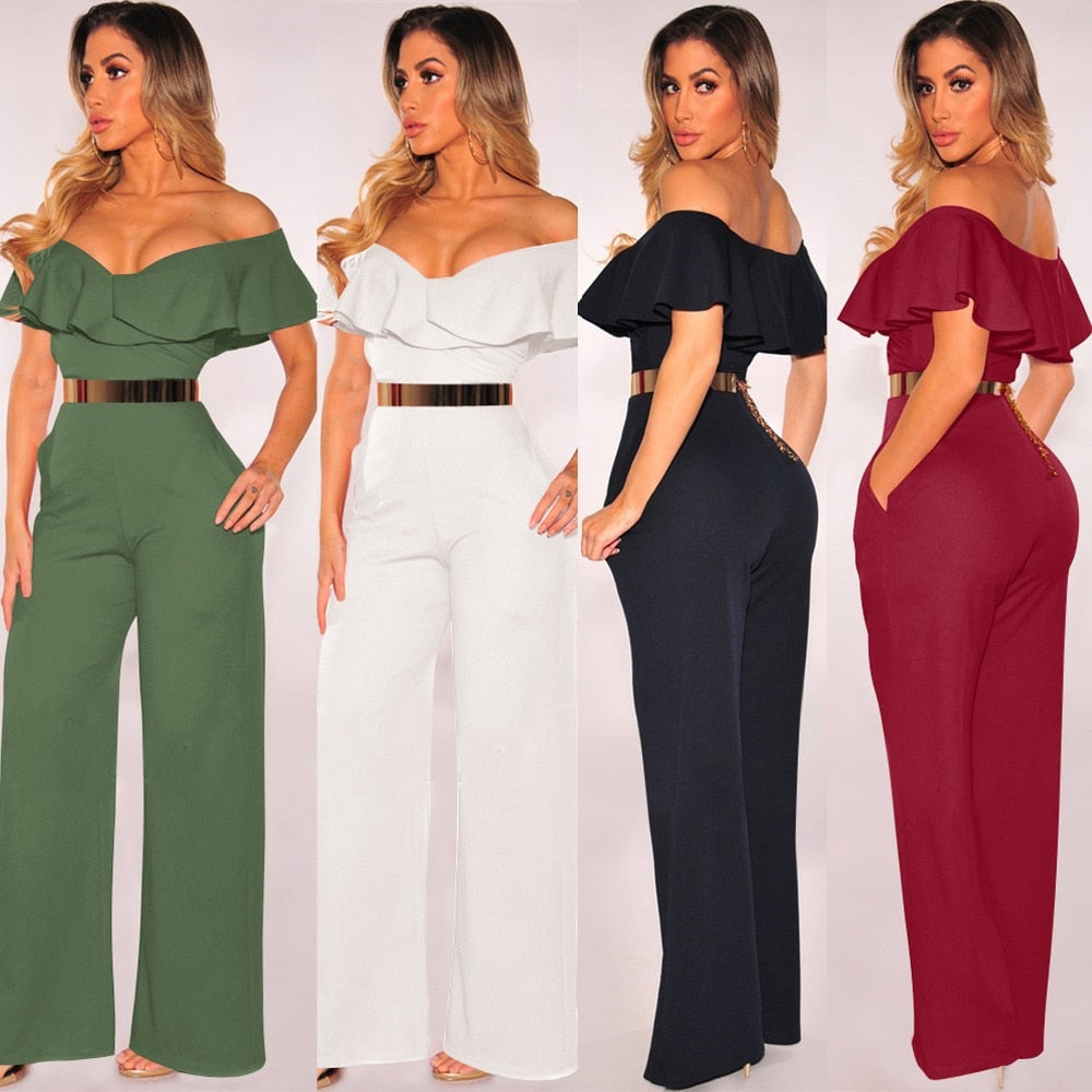 Backless Women Wide Loose Ruffled Jumpsuits