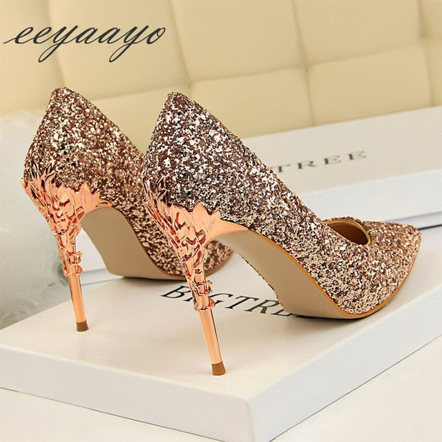Thin Women Pointed Toe Metal Pumps High Heels