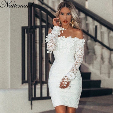 Off Shoulder Strapless Mini Lace Dress