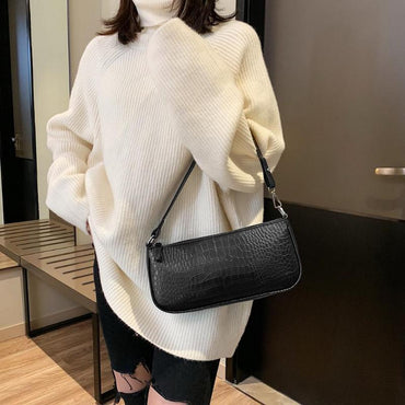 Casual Solid Shoulder Retro Alligator Pattern Women Messenger Handbags