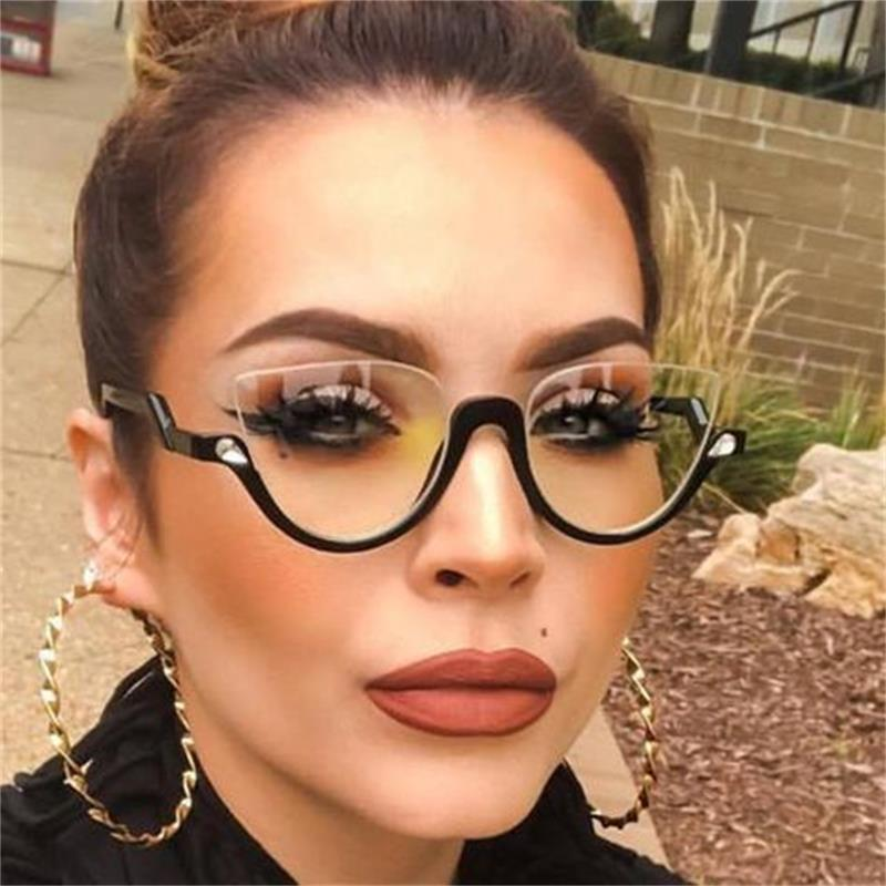 Clear Lens Rhinestone Vintage Half Frame Cat Eye Sunglasses