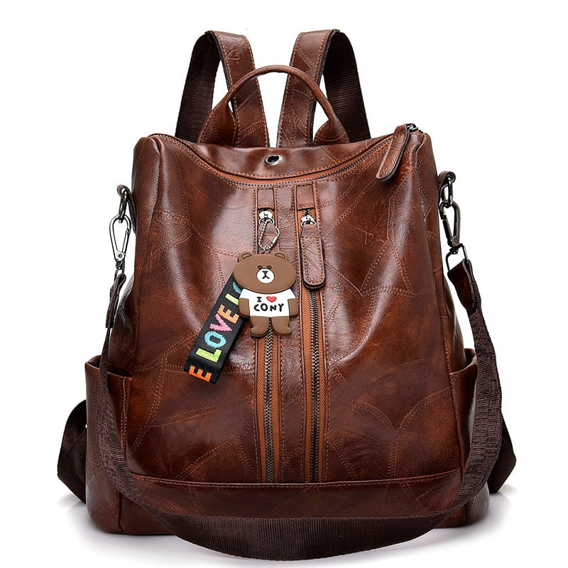 Leather Vintage Women Shoulder Mochila Backpack