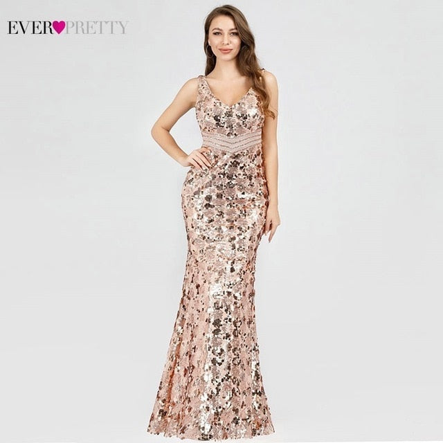 Elegant Pretty Mermaid Sequined Evening Dress