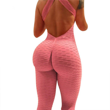 High Elasticity Backless Cross Workout Jumpsuit