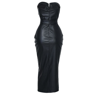 Backless Leather Night Club Wear Dress