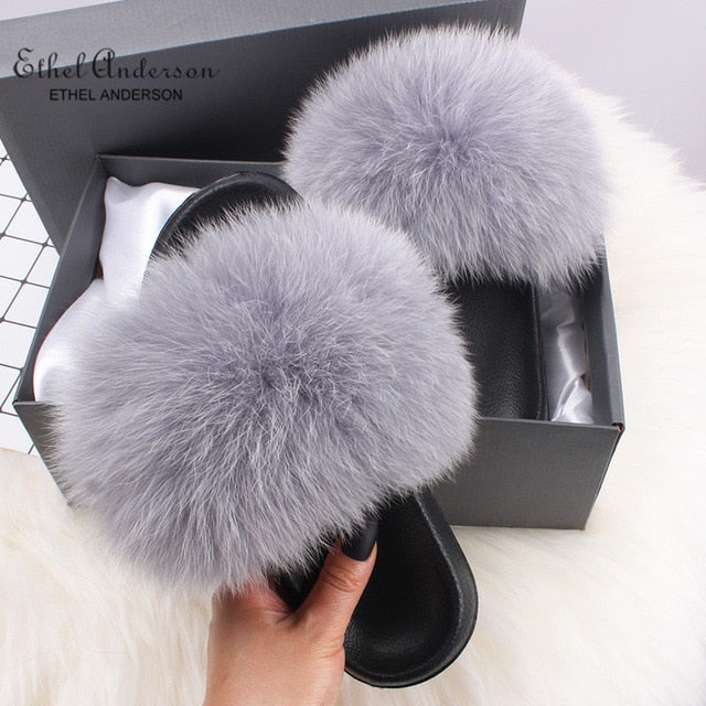 Casual Vogue Fox Fur Fur Slides Slippers