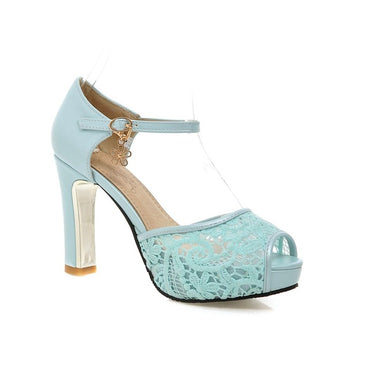 Lace Mesh Fish Mouth High Heel