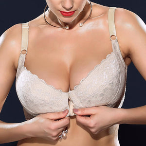 H Cup Front Closure Gather Embroidery Plus Size Push Up Thin Bra