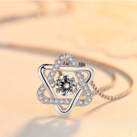 Sterling silver six-pointed star necklace