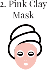 Pink clay mask skincare routine process regime
