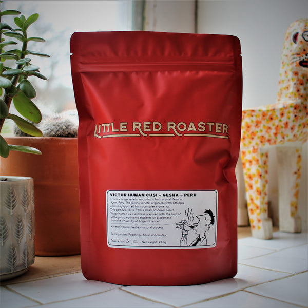 250g bag of Peru Gesha roasted coffee from Little Red Roaster