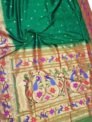 Bottle green paithani with peacock and flower motifs border