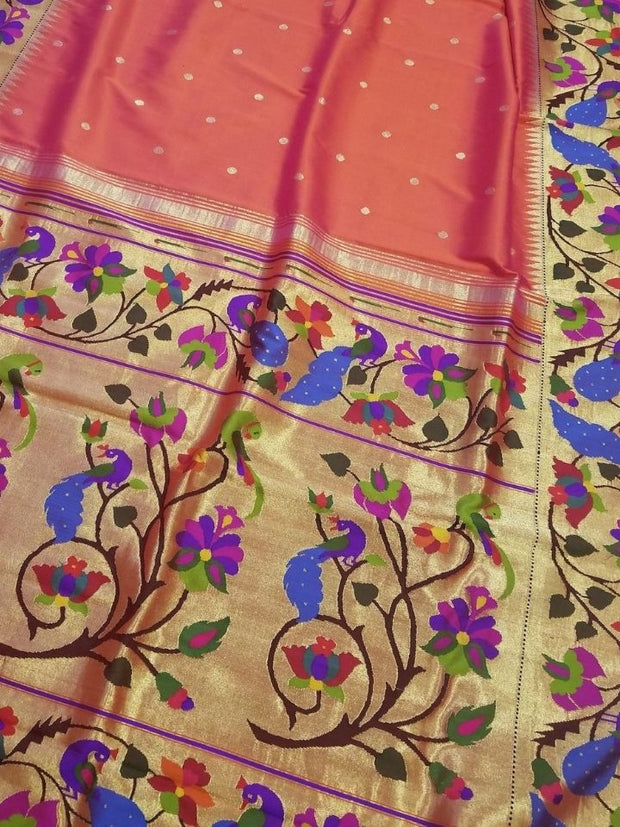 Two tone peach paithani with broad borders