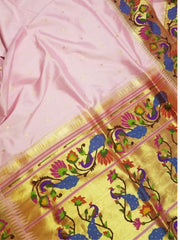 Baby pink paithani with gold tissue borders