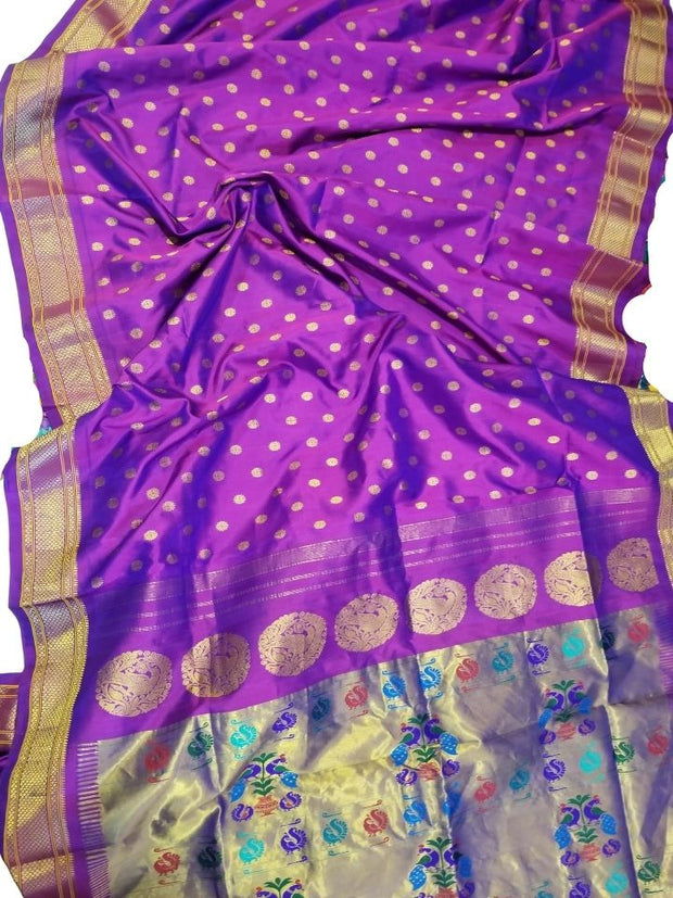 Purple single color paithani
