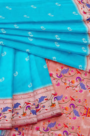 Turquoise banarasi paithani with peacock border