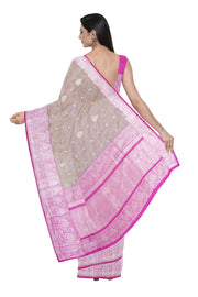 Cream banarasi saree with rich border