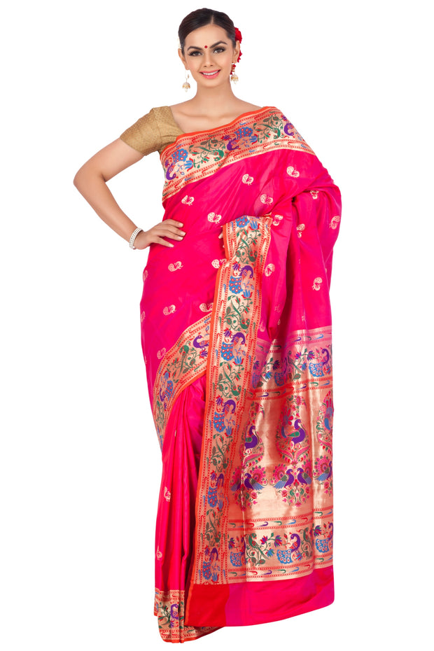 Pink banarasi saree with peacock borders