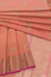 Peach orange cotton silk banarasi saree