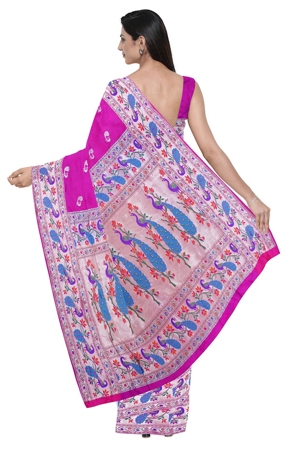 Magenta banarasi paithani with peacock border