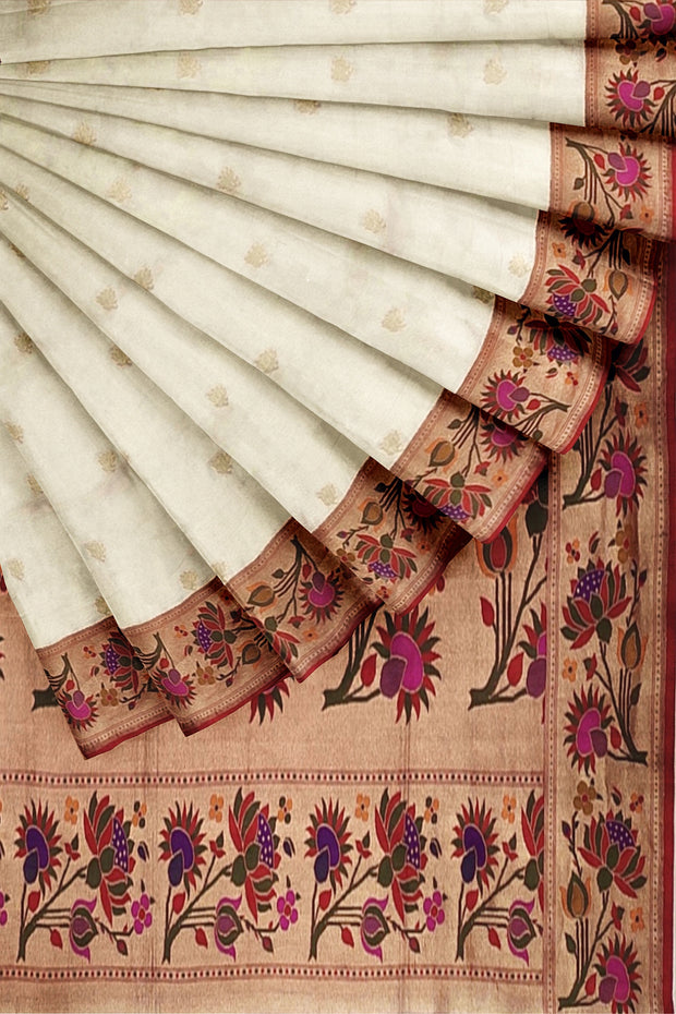 White banarasi paithani with lotus border