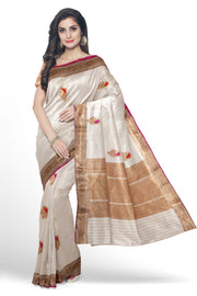 Off-white cotton silk banarasi