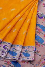 Golden mustard banarasi paithani with peacock border